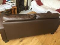 2 Piece Low Backed Leather Suite - chocolate brown