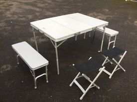 Fold away picnic table and seats ideal for children