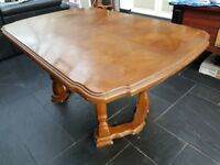 Vintage Solid Wood Extendable Dining Table (Seats 8) with Matching Sideboard + Two Free Chairs