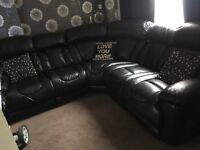 Dfs newbock leather black electric recliner large corner sofa