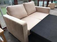 HOME Metal Action Fabric Double Sofa Bed Beige Suede Unused Delivery Possible 2 Seater Sofa