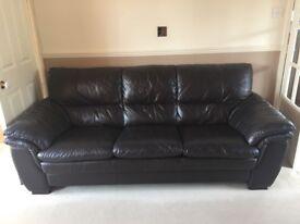 Three piece brown leather sofa inc footstool