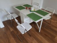 IKEA dining table NORDEN white, adjustable size, plus option to add set of 4 NISSE chairs