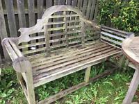Large ornate teak bench