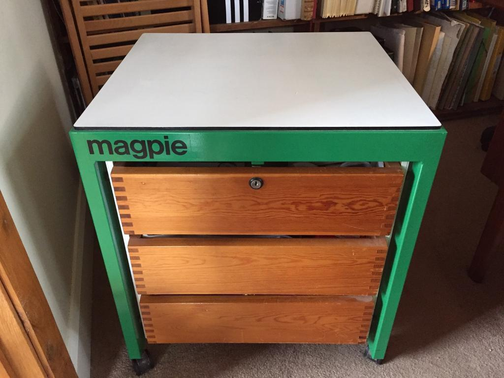 office side table. Magpie Green/white Office Side Table With 3 Drawers