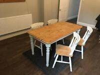 Shabby chic pine dining table and chairs