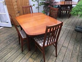 Dining Room Table & 4 Upholstered Chairs. Solid Teak, possibly G Plan. Drop Leaf. VGC