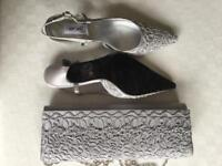 Farfalla Silver grey evening bag and shoes, size 5/38