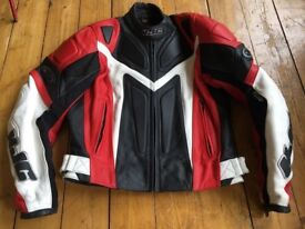 """Size 14/16 """"HJC"""" motorcycle leather jacket with lining all in great condition!"""