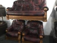 🎅 as new leather 3 11 sofa set in an oak frame