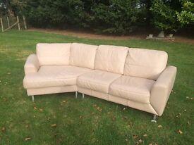 Cream L Shape Corner Leather Sofa