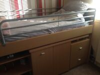 Cabin bed with fold out desk and chair