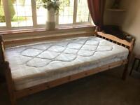 Single bed & mattress - Pine