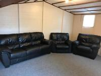 Black leather 3 -1 -1 sofas Set Suite