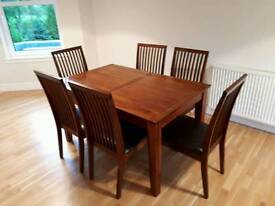 Debenhams solid wood Dining table & 6 chairs
