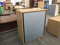 OAK TAMBOUR STATIONERY CABINET, CUPBOARD, MORE TAMBOUR CABINETS IN STOCK