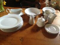Crown Ming fine china. white and silver 28 piece crockery set