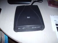 HP Lightscribe DVD Writer, External with USB connection and mains power supply.
