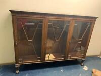 Reproduction Mahogany display cabinet. 1300. wide