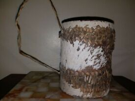 African Vintage Leather Covered Drum