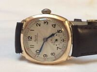 Beautiful vintage 9k 9ct solid gold Rone mens watch with original certificate and box