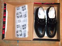 T.U.K Lo sole Mondo Creepers Black Leather NEW in Box £65 size UK9 Eu 43 UNISEX