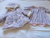 Baby girl coat and dress 0-3 months