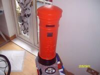 british red post box solar garden light scale 1.3 approx no mains wires sure on at dusk and off dawn