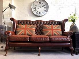 Classic wing back high back Queen Anne Chesterfield sofa. Can deliver