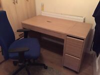 Desk, filing cabinet and chair
