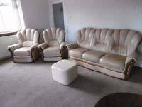 3 Seater Sofa, 2 Armchairs & Foot Stool for Sale