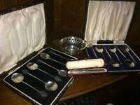 Lovely job lot of antique solid silver items