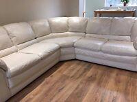 Quality cream leather corner sofa