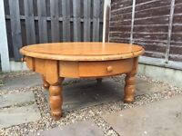 Victorian style large pine rustic style coffee table