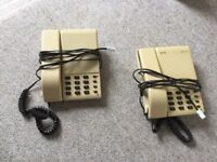 VINTAGE RETRO 1980S TELEPHONE HANDSETS, WORKING, PUSH BUTTON, MID CENTURY, BEIGE BROWN, ASCOM, BT