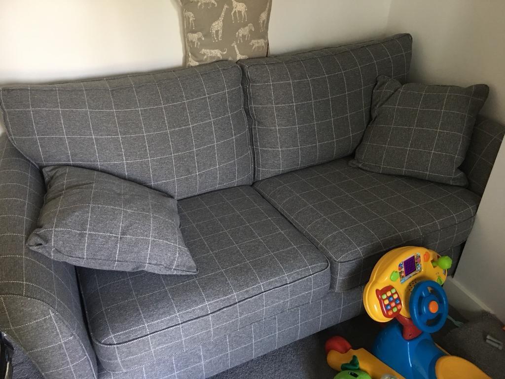 Next Grey Checked Sofas