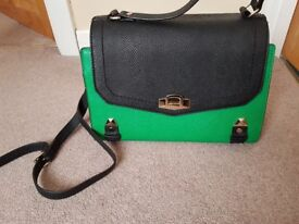 Ladies handbag by River island green and black used once as new