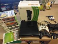 250gb Xbox 360 slim + additional controller + 18 games