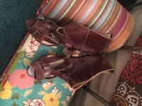 Top shop brown gladiator heeled sandals, used. Size 40/7