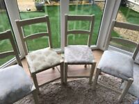 4 Cream Dining Room Chairs (and covers), assorted Cream fitted Cushions, great for upcycling