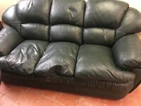 REAL LEATHER 3 seater in DARK GREEN QUALITY SOFA