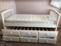 Single bed with under bed and storage drawers