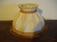 Vintage shabby chic cream and brown lampshade
