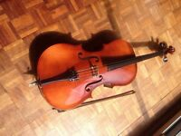 3/4 size Czech cello with bow and canvas case.