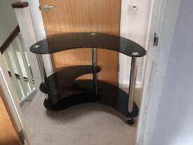 Black glass kidney shape computer table
