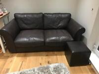 Three seater and Two seater Leather Sofas plus matching foot stool