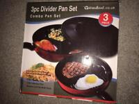 Divide 3 in 1 Frying Pan Set Non Stick Surface Separate Cooking Space Simmer Lid Fits Both Pans