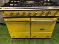 Stunning lacanche Cluny range cooker double oven yellow and brass appliance
