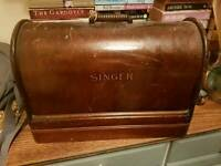 Old singer sewing machine with case