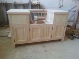 Solid Pine Belfast Sink Kitchen Unit for 600mm width sink